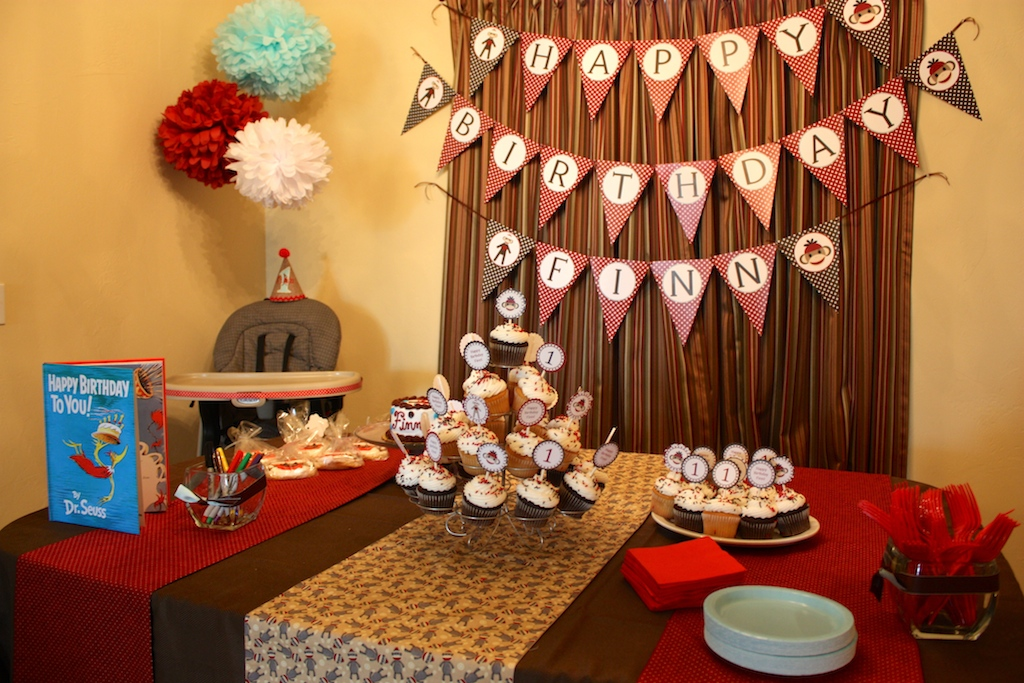 Sock Monkey First Birthday Party Cake Table Decorations