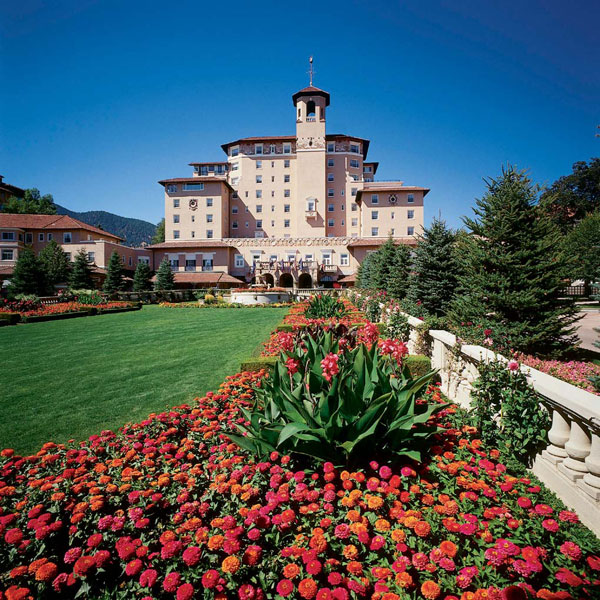 Caption: The grounds of The Broadmoor Hotel in Colorado Springs